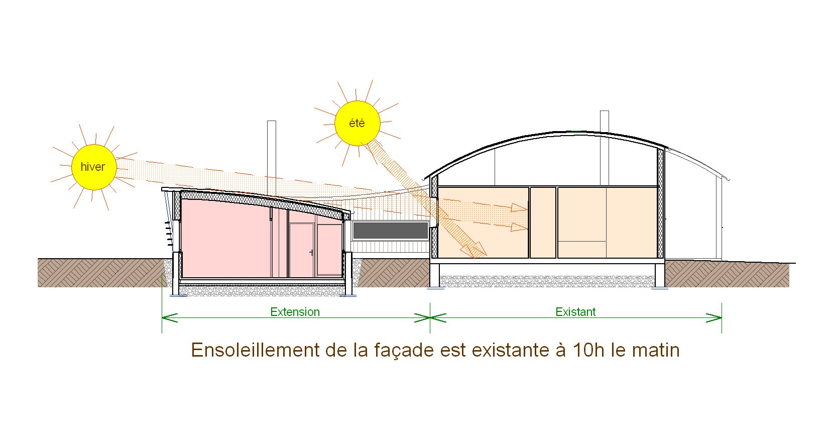 Extension d 39 une maison de plain pied aux toitures courbes Architecture courbe