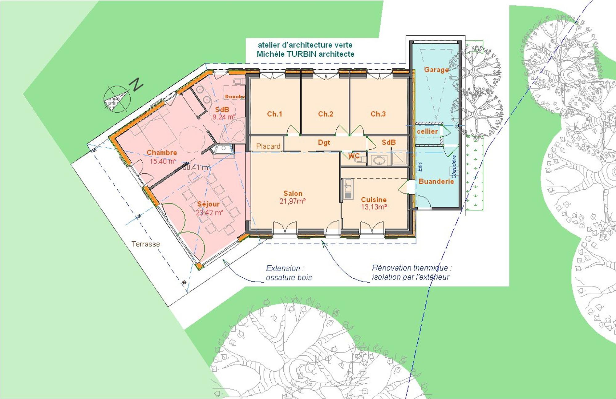 Extension et renovation thermique - plan -