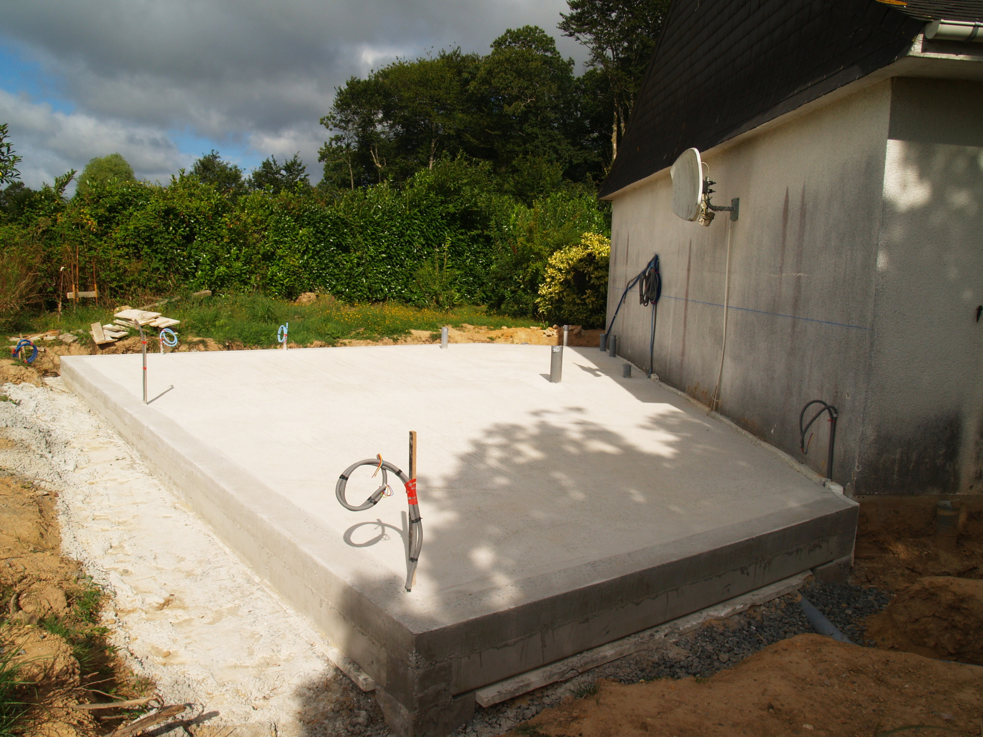 Extension et renovation thermique - chantier - dalle