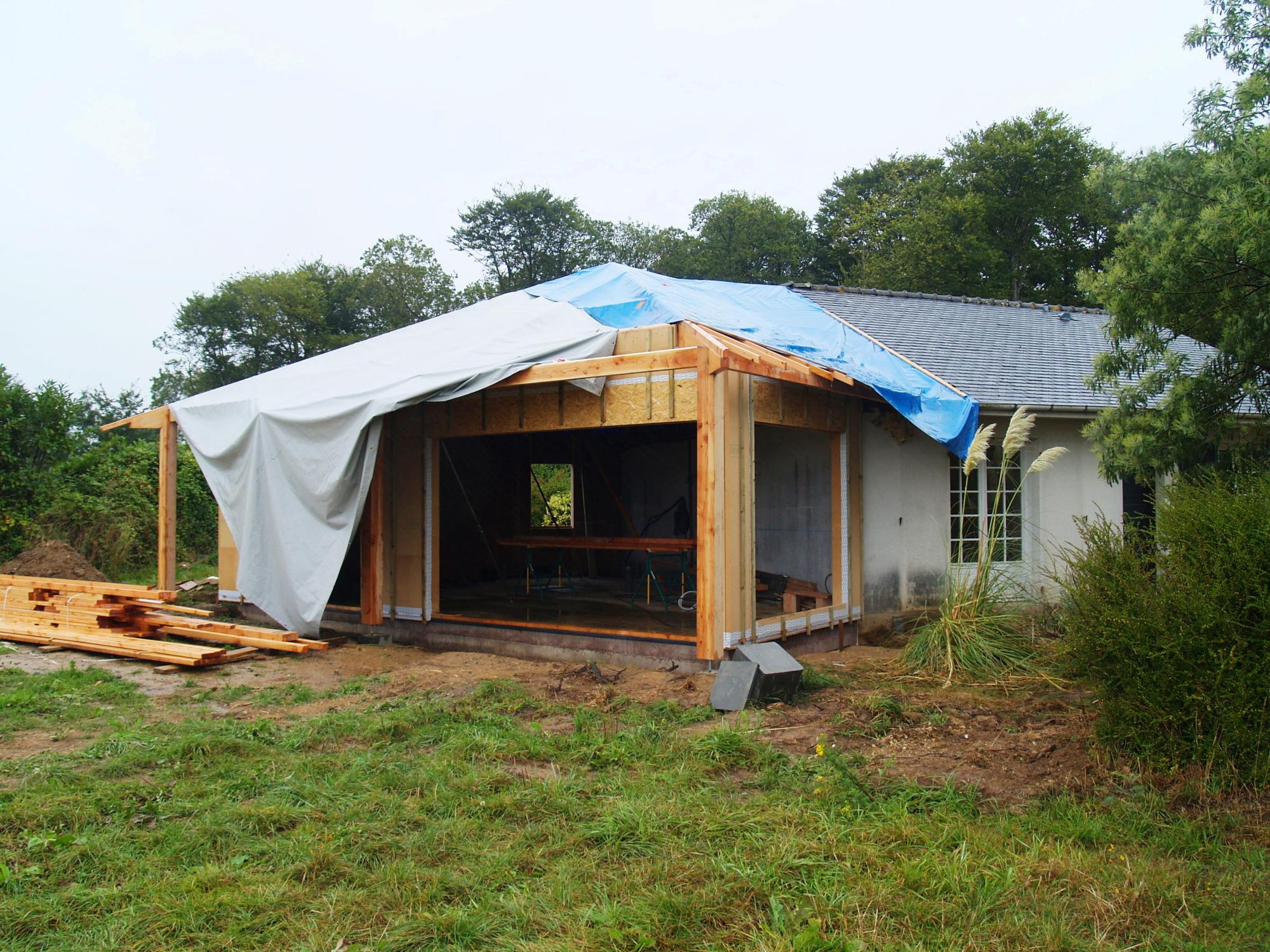 Extension et renovation thermique - chantier - charpente