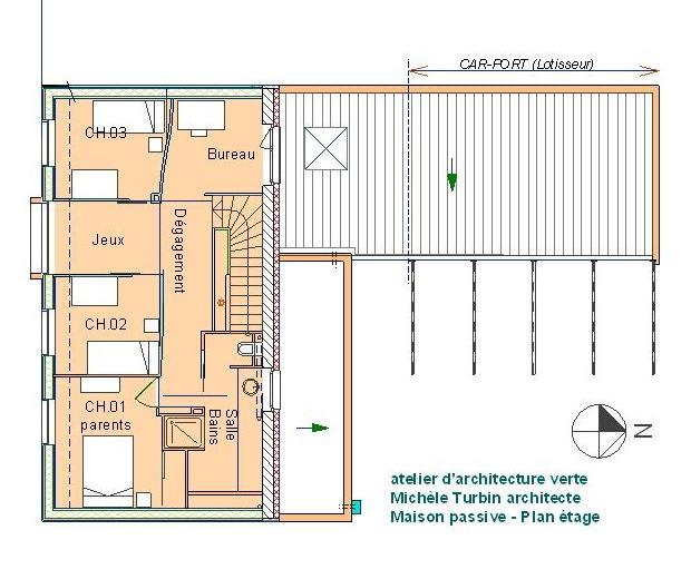 maison passive Romillé - plan étage