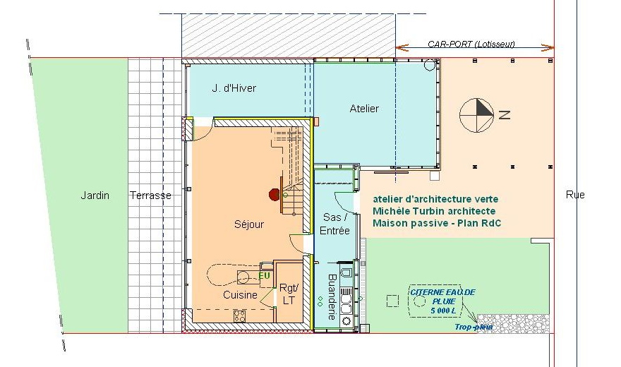 maison passive Romillé - plan RDC