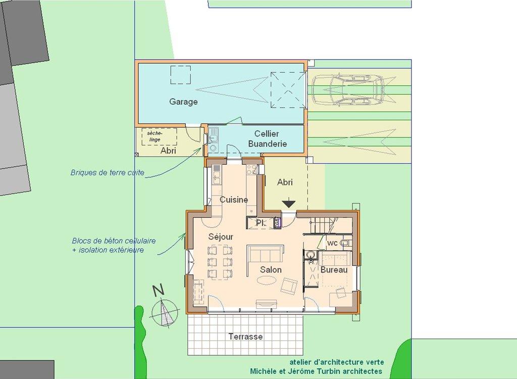 maison passive à Pleumeleuc - plan RDC