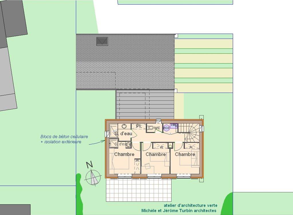 maison passive à Pleumeleuc - plan de l'étage