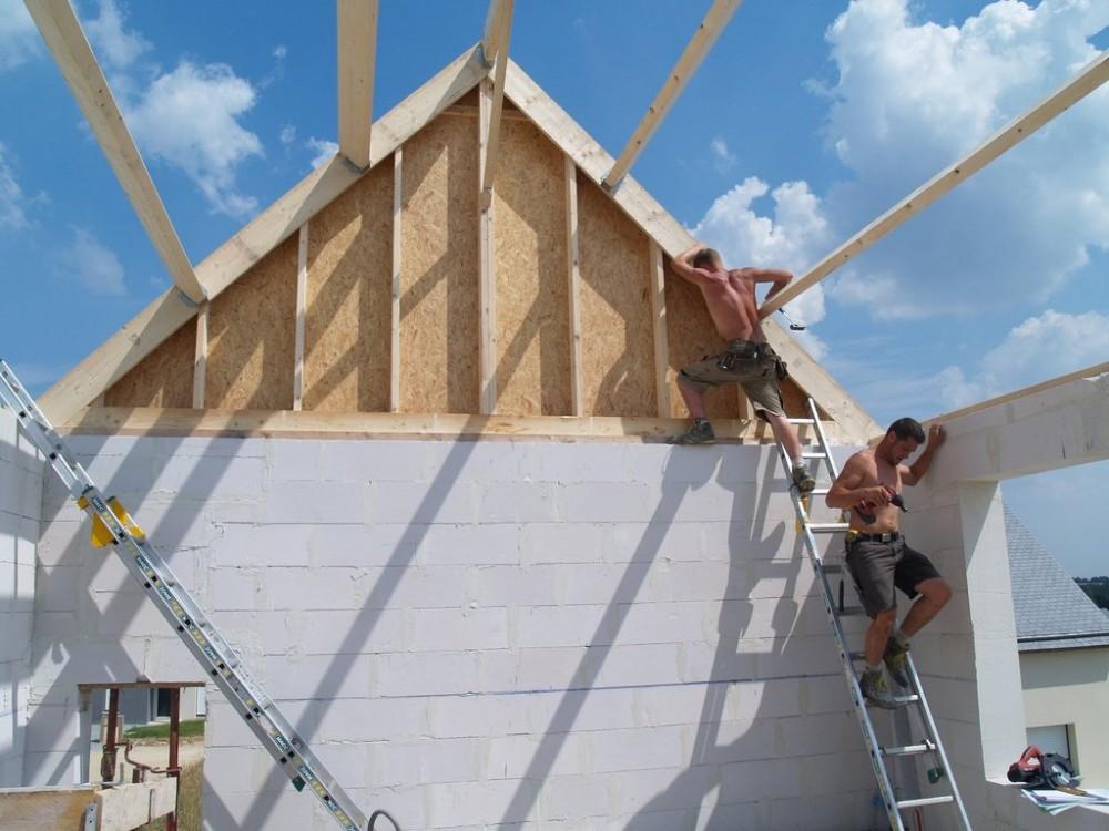 maison passive à Pleumeleuc – chantier en cours, charpente